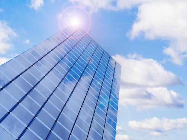 Edificio moderno de bienes raíces financieros para corporaciones comerciales con renderizado 3d de destello de lente