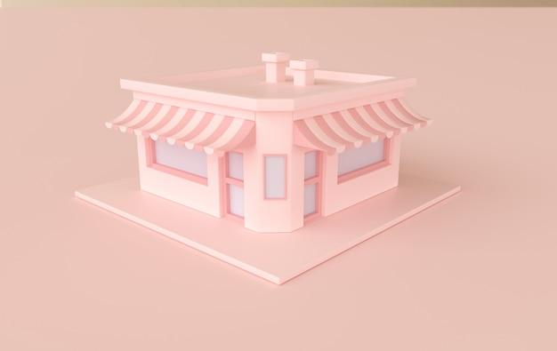 El edificio de la tienda o cafetería. ilustración de renderizado