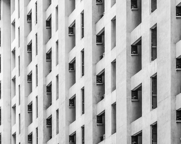 Edificio de ventanas residenciales en color blanco y negro.