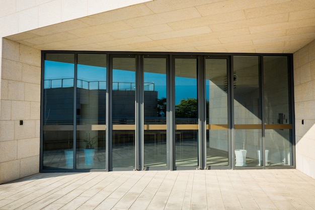 Edificio, vidrio, entrada
