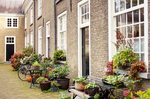 Edificios y jardín