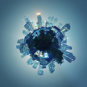 Edificios que forman el globo por la noche.