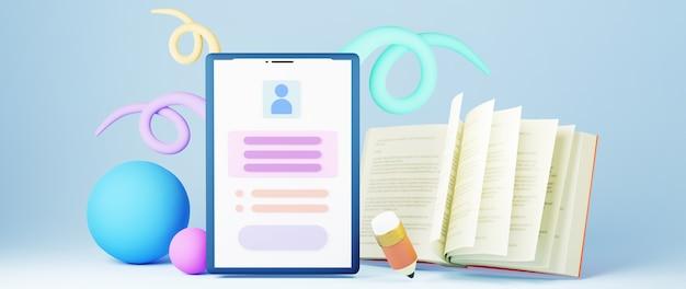 Educación digital en línea. 3d de libro colorido y móvil sobre el aprendizaje por teléfono, computadora. concepto de distancia social. aula red de internet en línea.