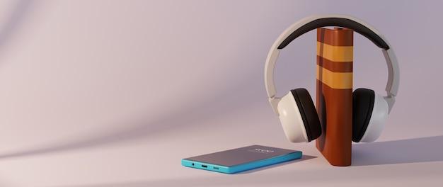 Educación digital en línea. 3d de libro y móvil sobre aprendizaje por teléfono.
