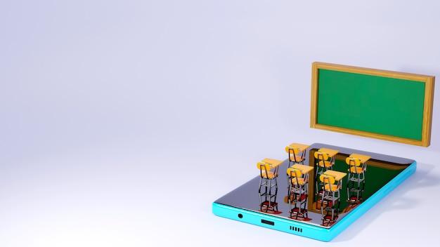 Educación digital en línea. 3d de móvil sobre el aprendizaje por teléfono, computadora. concepto de distancia social. aula red de internet en línea.