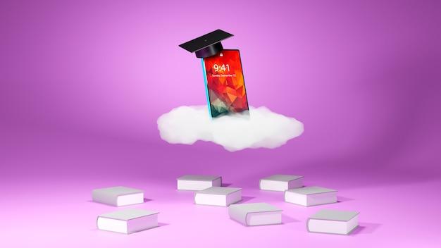 Educación digital en línea. 3d de móvil con sombrero sobre el aprendizaje por teléfono, computadora. concepto de distancia social. aula red de internet en línea.