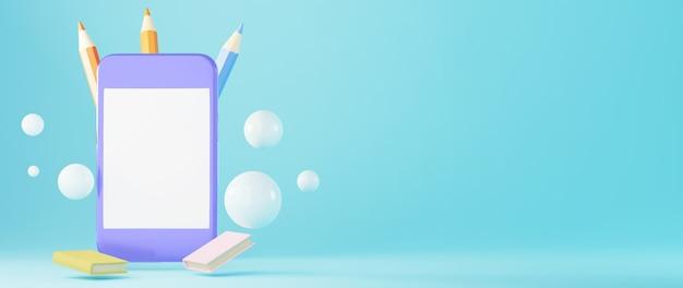 Educación digital en línea. 3d de móviles y libros sobre aprendizaje por teléfono.