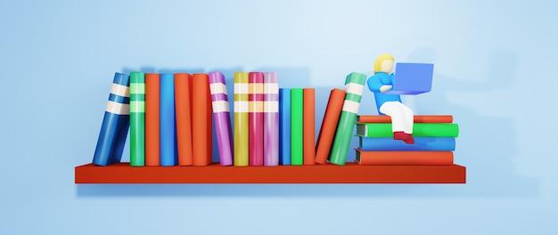 Educación digital en línea. 3d de mujer jugar cuaderno y libros sobre aprendizaje por teléfono, computadora. concepto de distancia social. aula red de internet en línea.