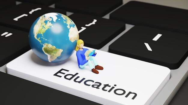 Educación digital en línea. 3d de niña lee el libro en el teclado sobre el aprendizaje en el teléfono, computadora.