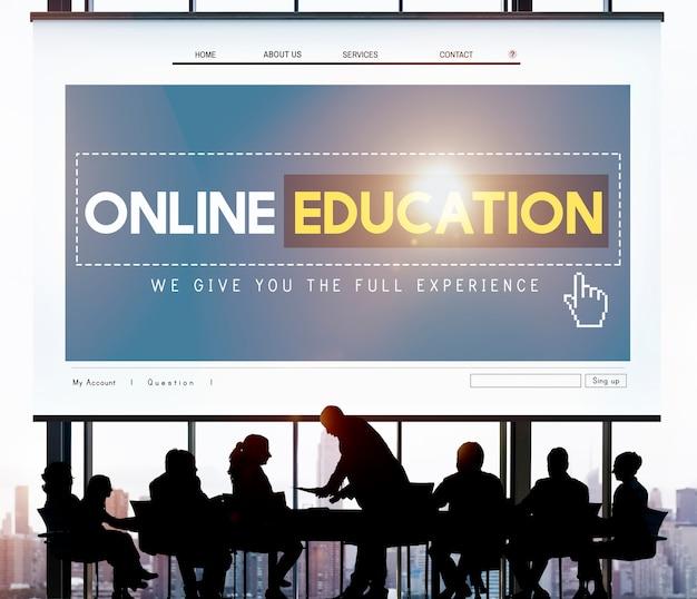 Educación en línea estudiando el concepto de tecnología e-learning