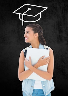 La educación superior graduación documento que llama alegre