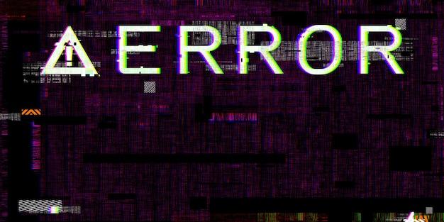 Efecto de falla sistema defectuoso símbolos de peligro informático errores de piratería cyberpunk digital pixel design concept sistema informático dañado ilustración 3d