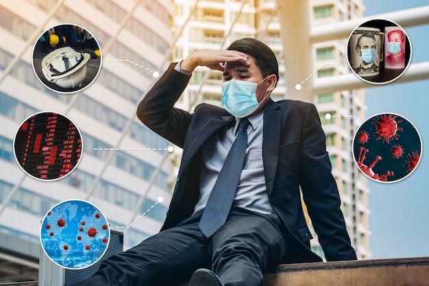 Efecto hombre de negocios infeliz del coronavirus covid19 que causa crisis económica
