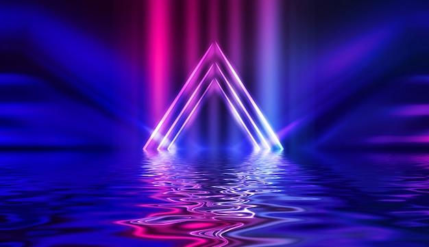 Efecto de neón de luz, ondas de energía sobre un fondo abstracto oscuro.