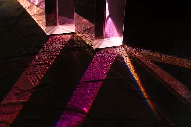 Efecto de prismas de luces de cerca