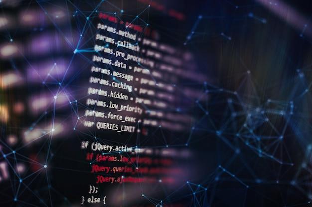 Ejecución de datos informáticos / programación www. funciones de programación web en una computadora portátil en una computadora portátil. negocio de ti. pantalla de computadora de código python. concepto de diseño de aplicaciones móviles.