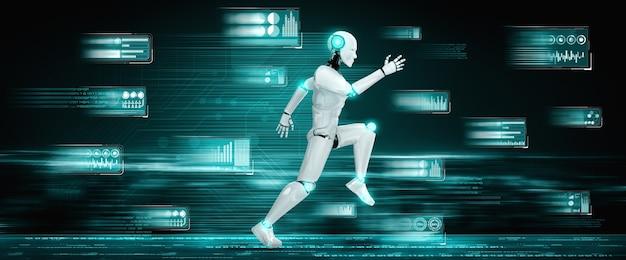 Ejecutando robot humanoide que muestra un movimiento rápido y energía vital.