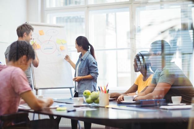 Los ejecutivos de negocios discutir con sus colegas en whiteboa