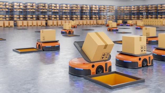 Un ejército de robots que clasifica eficientemente cientos de paquetes por hora (vehículo guiado automatizado) agv.