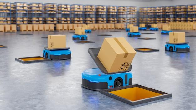 Un ejército de robots que clasifica eficientemente cientos de paquetes por hora.