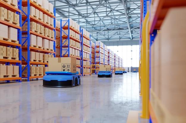 Un ejército de robots que clasifican de manera eficiente cientos de paquetes por hora (vehículo guiado automatizado) agv. representación 3d
