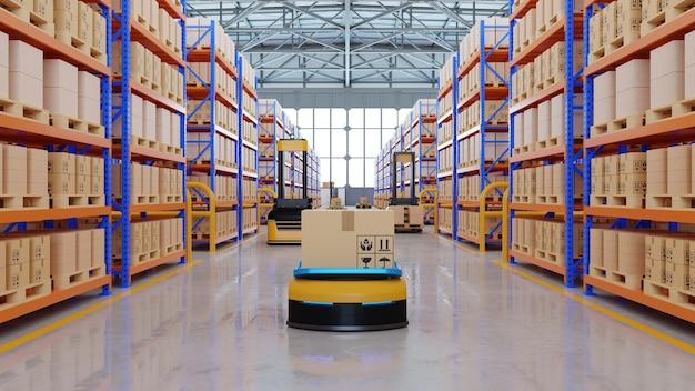 Un ejército de robots que clasifican de manera eficiente cientos de paquetes por hora (vehículo guiado automatizado) representación agv.3d