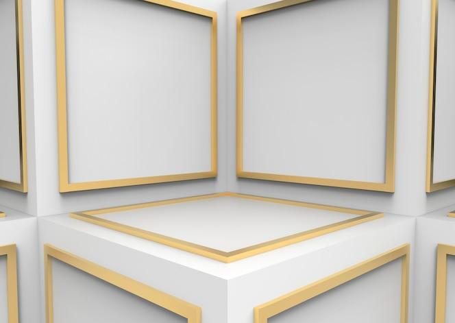 El bloque abstracto de la forma cuadrada de oro en el cubo blanco encajona el fondo de la pared del cornor.