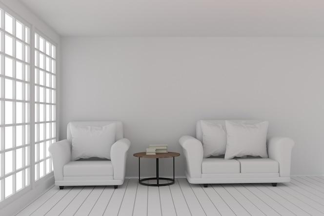 El diseño vacío de la sala blanca con el sofá fijó en la habitación blanca en la representación 3d
