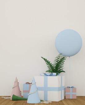 El espacio de regalo de decoración interior en el festival - 3d