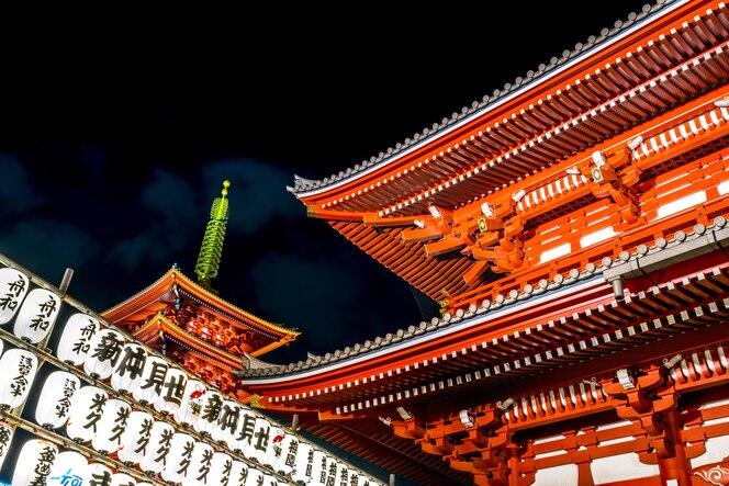 El templo sensoji es un punto de referencia en tokio por la noche, se ilumina y gira