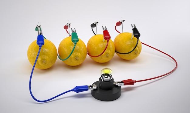 Electricidad de la batería de limón