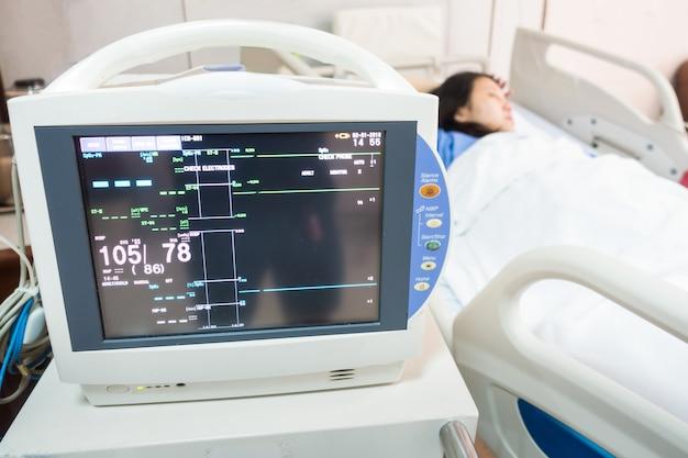 Electrocardiograma (ecg) en el hospital con paciente con goteo en el fondo del hospital