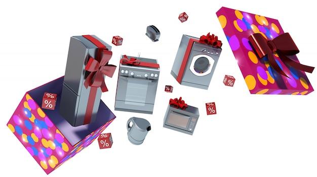 Electrodoméstico en caja de regalo con cintas y lazo