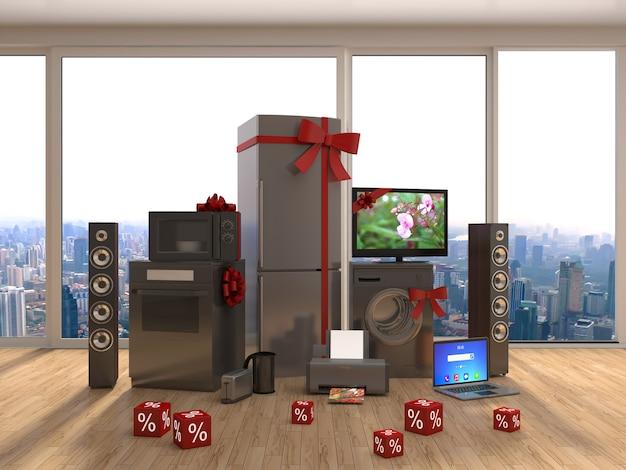 Electrodomésticos con cintas y descuentos en interior. ilustración 3d