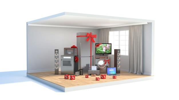 Electrodomésticos con cintas y descuentos en interior.