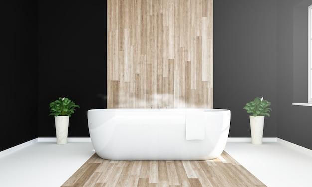 Elegante baño cálido en negro, blanco y madera.