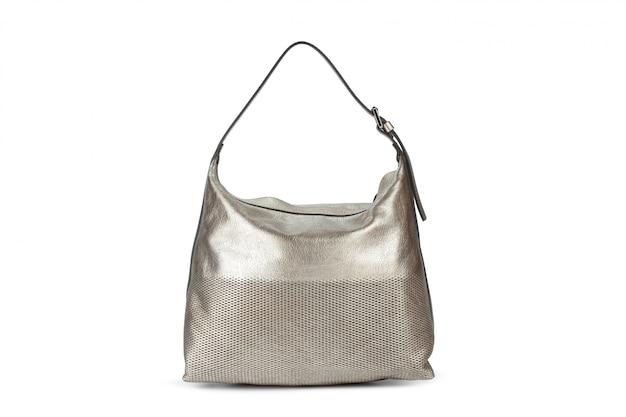 Elegante bolso de mujer con monedero sobre blanco