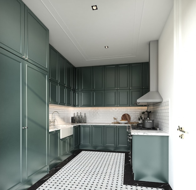 Elegante cocina totalmente en estilo clásico, gabinete pintado con aerosol verde medianoche y baldosas de ladrillo blanco instaladas en la pared con piso de mármol