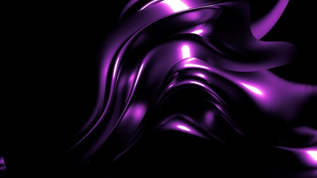 Elegante elegante fondo oscuro púrpura con pliegues, cortinas y remolinos. representación 3d