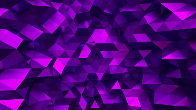 Elegante fondo morado con triángulos y cristales. ilustración 3d