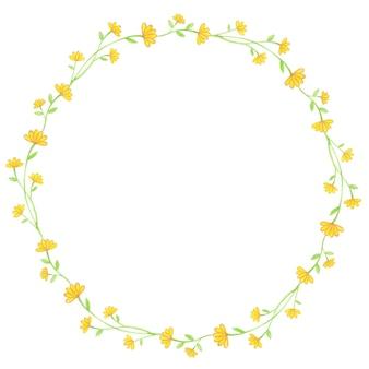 Elegante ilustración acuarela de corona de flores amarillas