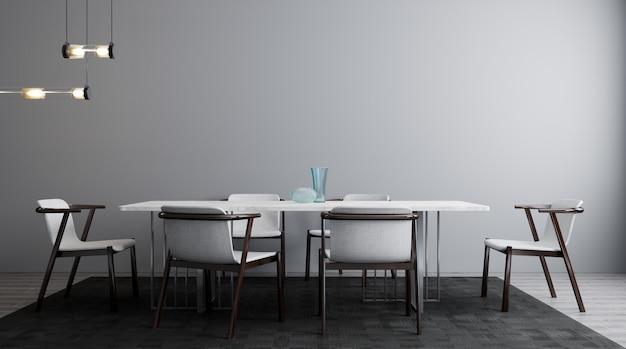 Elegante interior del luminoso salón con mesa y silla blancas. maqueta de salón interior. habitación de diseño moderno con luz natural. representación 3d