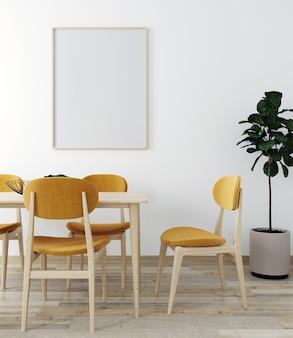 Elegante interior de salón luminoso con mesa y silla de mesa, con decoración. maqueta de salón interior. habitación de diseño moderno con luz natural. render 3d