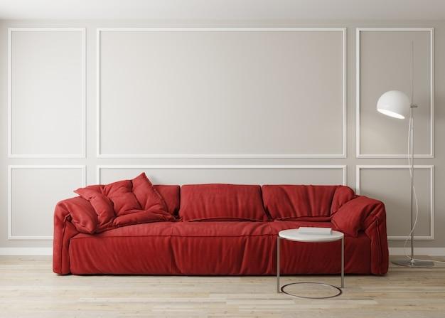 Elegante interior de salón luminoso con sofá rojo y mesa de café con decoración. maqueta de salón interior. habitación de diseño moderno con luz natural. render 3d