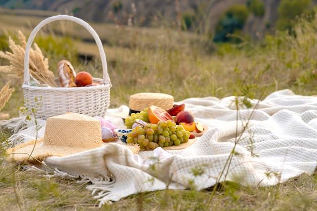 Elegante picnic de verano sobre una manta blanca. en un lugar pintoresco la naturaleza de las colinas.