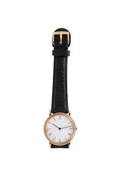 Elegante reloj negro sobre una superficie blanca.