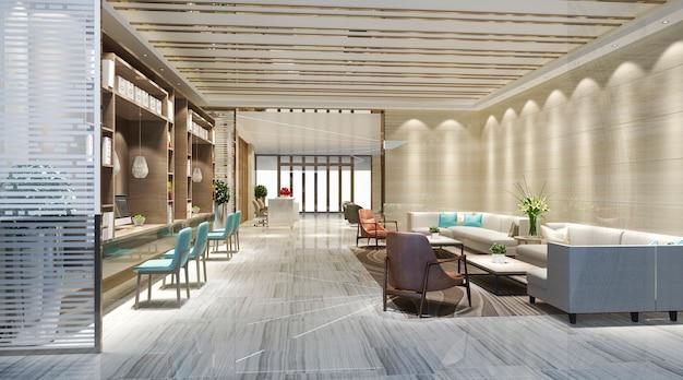 Elegante sala de vestíbulo en 3d y biblioteca con escritorio de trabajo.
