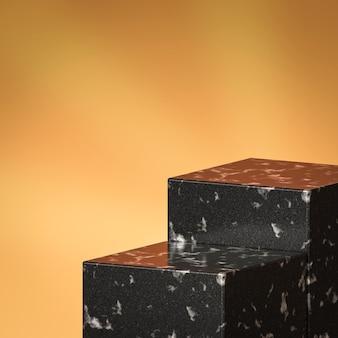 Elegante soporte de fondo de producto de vitrina de mármol o pedestal de podio en pantalla dorada con telones de fondo de lujo. representación 3d.