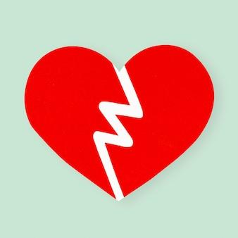 Elemento de arte de mano de papel de corazón roto