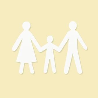 Elemento de artesanía de mano de papel familiar feliz